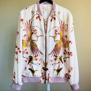 NWOT Printed Embroidered Bomber Jacket